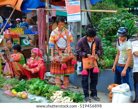 Hoang Su Phi, Ha Giang province, Vietnam - October 2, 2016: The ethnic minority people set out the agricultural products by themselves at the Sunday fair, who sell and exchange their homemade products