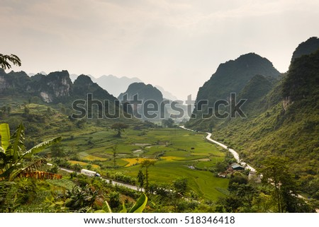 Hoang Su Phi, Ha Giang province, Vietnam - September 22, 2016 : Ma Phuc mountain pass in Cao Bang, Vietnam