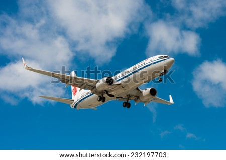 HOBART, TASMANIA/AUSTRALIA, OCTOBER 18TH: Image of a Air China passenger airliner with President Xi Jinping landing at Hobart Airport on 18th October, 2014 in Hobart