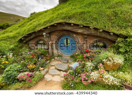HOBBITON home of the HOBBIT movie and LORD OF THE RINGS 2016 on FEBRUARY 04, 2016 in Matamata, New Zealand 2016 - stock photo
