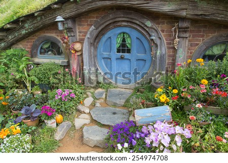 Hobbiton Movie set, Matamata, North Island, New Zealand - stock photo