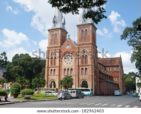 HOCHIMINH CITY, VIETNAM - NOVEMBER 17: Notre Dame cathedral in Ho Chi Minh City, Vietnam on November 17, 2013. Built in French domination ( 1880) and designed by architecter J. Bourard.