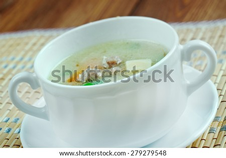 Hochzeitssuppe - wedding soup.German soup based on chicken broth, fortified with chicken meat, small meatballs