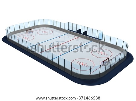 Hockey arena render - stock photo