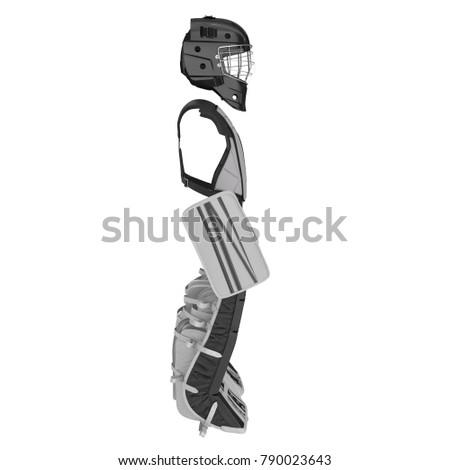 Hockey Goalie Protection Kit On White Stock Illustration 790023643
