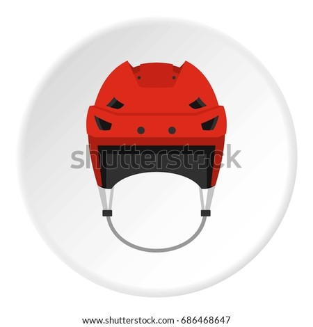 Hockey helmet icon in flat circle isolated  illustration for web
