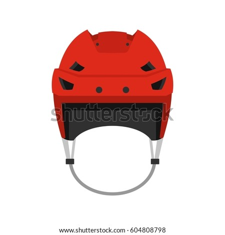 Hockey helmet icon in flat style isolated on white background  illustration