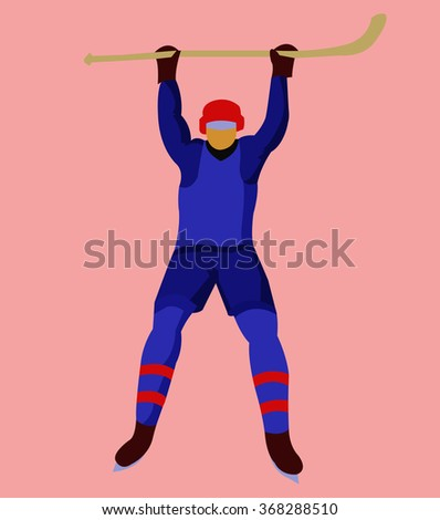 Hockey Player in Blue Uniform with a hockey stick and skates. Colorful winter sports mascot or emblem of a hockey man player. Digital raster illustration.