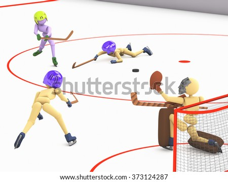 hockey players puppet men play on ice one striker shooting the puck goalkeeper catches and two defenders  3D illustration a cutout background