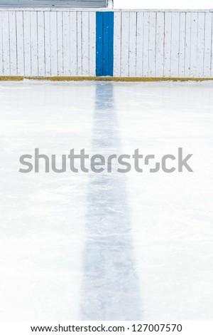 Hockey Rink Blue Line - stock photo