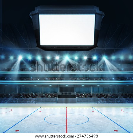 hockey stadium with fans and blank cube text space sport arena in view rendering my own design