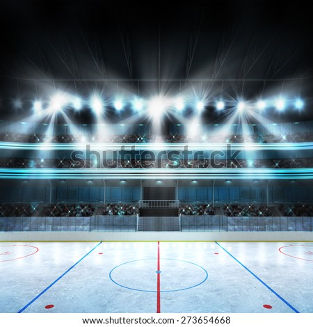 hockey stadium with spectators and an empty ice rink my own design sport arena in square view three dimensional rendering