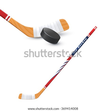Hockey Stick And Puck - stock photo