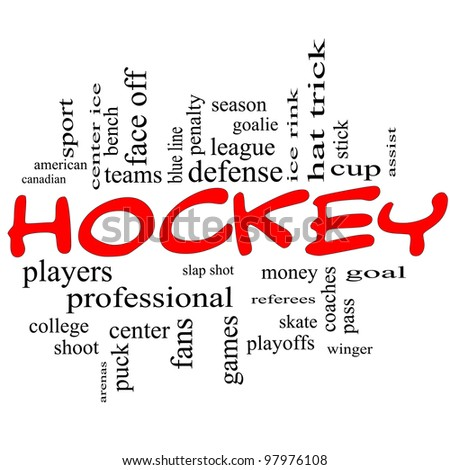 Hockey Word Cloud Concept in red scribbles with great terms such as slap shot, goal, ice rink, blue line and more. - stock photo