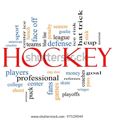 Hockey Word Cloud Concept with great terms such as assist, slap shot, goal, ice rink, blue line and more. - stock photo
