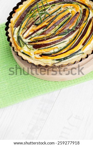 hoemade delicious vegetable tart - food and drink - stock photo