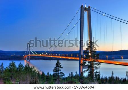 Hoga Kusten bridge at the evening - stock photo