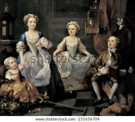 HOGARTH, William (1697-1764), The Graham Children, 1742, Rococo, Oil on canvas