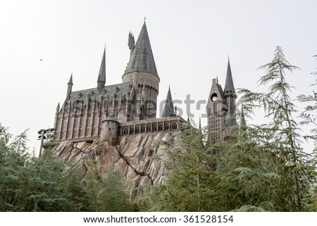 Hogwarts Castle, home to Harry Potter and the Forbidden Journey attraction Orlando USA - stock photo