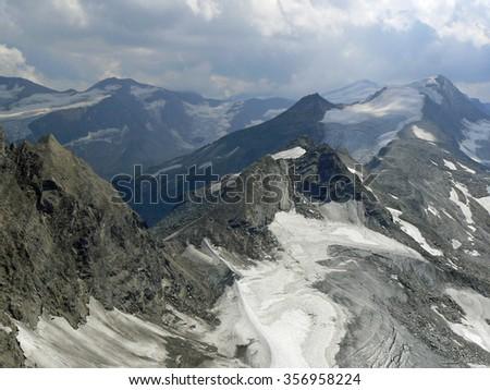 Hohe Tauern, National park in Austria. View from Kitzsteinhorn - 3029 m. In summertime. - stock photo