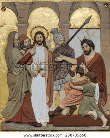 HOHENBERG, GERMANY - MAY 06: Jesus is condemned to death, 1st Stations of the Cross in Hohenberg, Germany on May 06, 2014. - stock photo