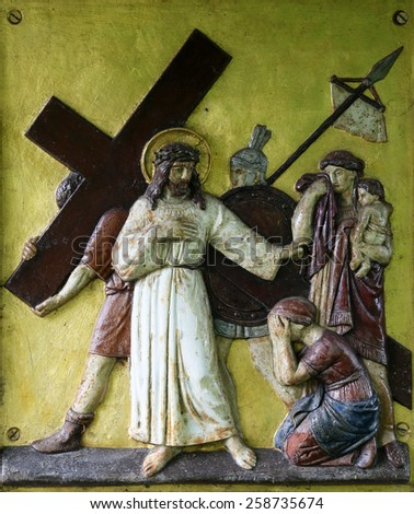HOHENBERG, GERMANY - MAY 06: Jesus meets the daughters of Jerusalem, 8th Stations of the Cross in Hohenberg, Germany on May 06, 2014. - stock photo