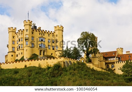 Hohenschwangau Castle in Bavaria, Germany. It was the childhood residence of King Ludwig II and stand  near of his castle Neuschwanstein . - stock photo