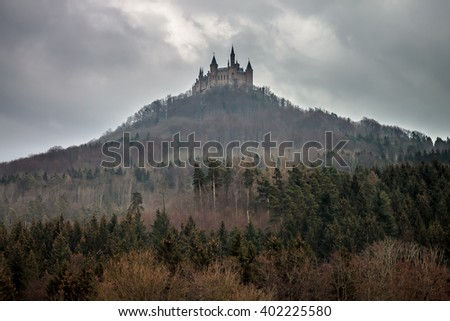 Hohenzollern castle just after a storm, Germany