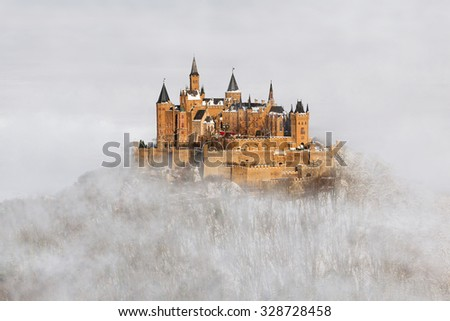 Hohenzollern castle over the clouds, Germany - stock photo