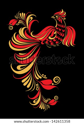 Hohloma bird. Illustration of traditional Russian art, ornament, paint. - stock photo