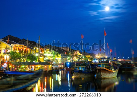 Hoi An ancient town at night, UNESCO Heritage City, Vietnam. - stock photo