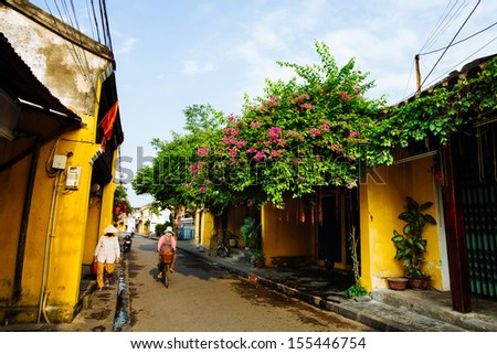 Hoi An Ancient Town in early morning sunshine, Quang Nam, Vietnam. Hoi An is recognized as a World Heritage Site by UNESCO. - stock photo