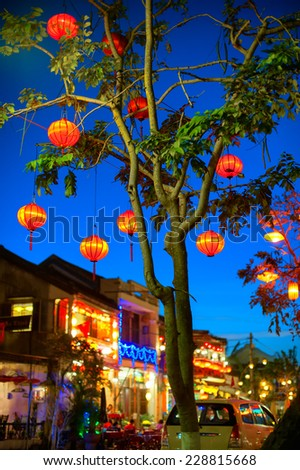 Hoi An old town, Vietnam. Traditional decorative lamps lanterns   - stock photo