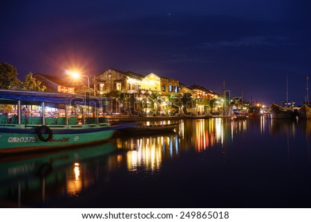Hoi an town Quang Nam province, Vietnam January 05, 2015 lanscape of Hoai River at night