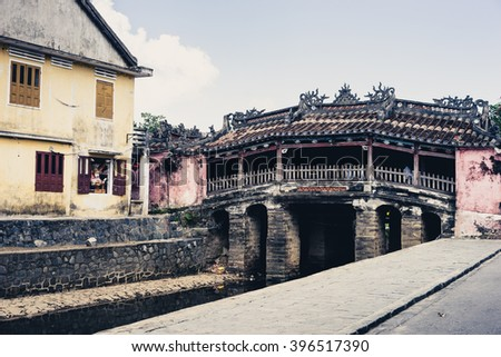 HOI AN, VIETNAM: Japanese Bridge (Cau Chua Pagoda) in Hoi An, Vietnam  - stock photo