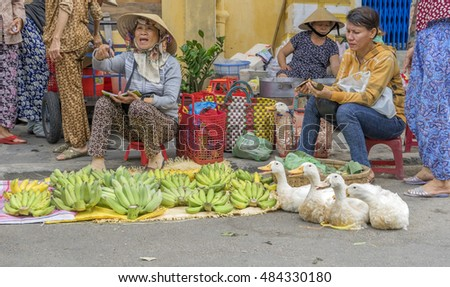 HOI AN, VIETNAM - JULY 17, 2015: Middle Year Festival, at store, street and market in Hoi An old town, Vietnam. Hoi An is a famous tourist destination in the world and Vietnam