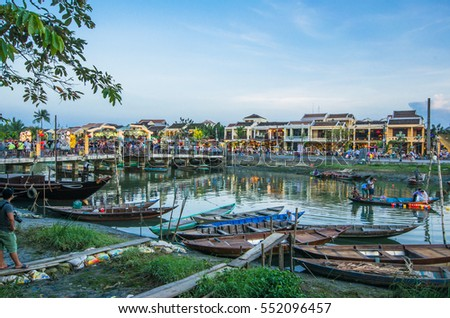 HOI AN, VIETNAM - MAY, 2016:Hoi An old town. Hoi An is a popular tourist destination of Asia, UNESCO world heritage. Hoi An is one of the most popular destinations in Vietnam.