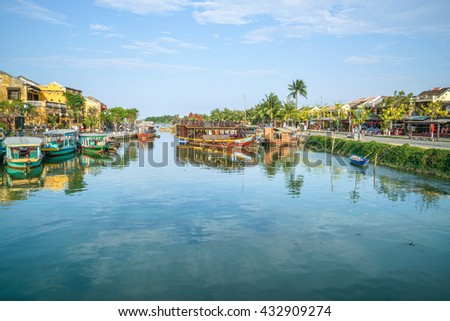 Hoi An, Vietnam - May 18, 2016: Traditional boats in Hoi An. Hoi An is the World's Cultural Heritage site, famous for its diverse culture and architecture