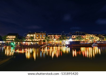 HOI AN, VIETNAM - NOVEMBER 24, 2016: Hoi An ancient town. Hoi An is a popular tourist destination of Asia. How An is recognized as a World Heritage Site by UNESCO.
