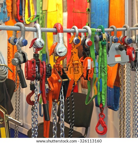 Hoists and Shackles Safety Tools for Lifting Equipment - stock photo