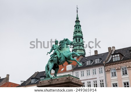 Hojbro Plads with the equestrian statue of Absalon - stock photo