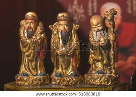 HOK LOK SIEW or FU LU SHOU three gods of chinese people.