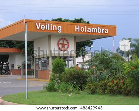 HOLAMBRA, SAO PAULO/BRAZIL â? APRIL 21, 2007: Veiling Holambra Building Entrance. Veiling is one of the Brazil's biggest flower auction house.