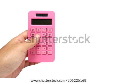 hold a pink calculator isolated on white background  - stock photo