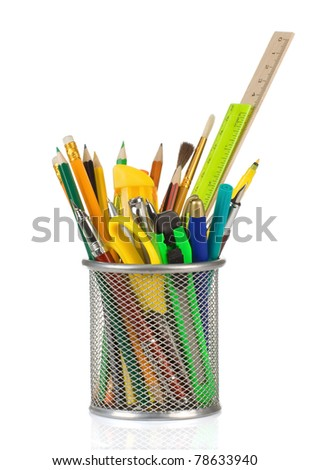 holder basket in school accessories isolated on white background - stock photo