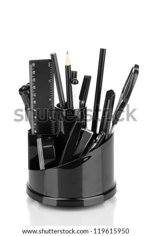 Holder for stationery isolated on white - stock photo