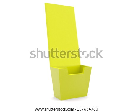 Holder template for designers - yellow render 3d - stock photo