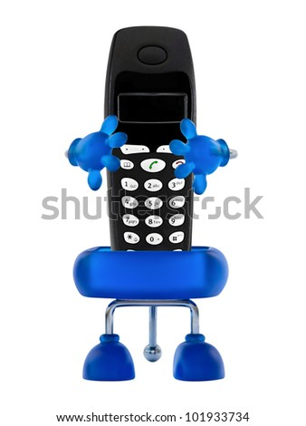 Holder with phone - stock photo