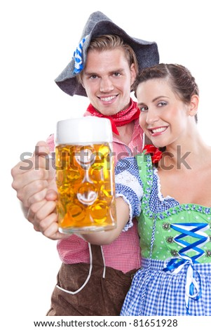 holding a beer together - stock photo