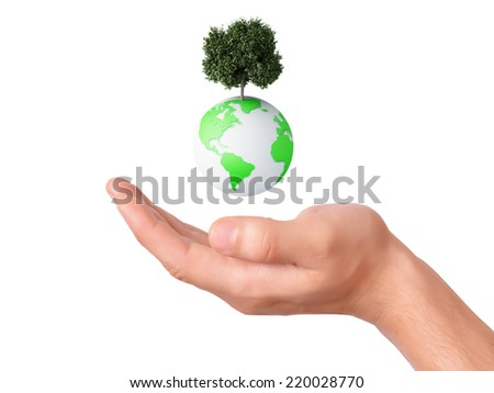 holding a earth globe and tree in his hand